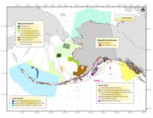 Many areas in the Alaska region have been closed to certain gear types, or closed to fishing entirely, to protect sensitive habitats. Map courtesy of the North Pacific Fishery Management Council.